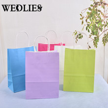 20Pcs/Lot Festival Gift Bag Shopping Bags DIY Multifunction Soft Color Paper Bag With Handles 21x15x8cm