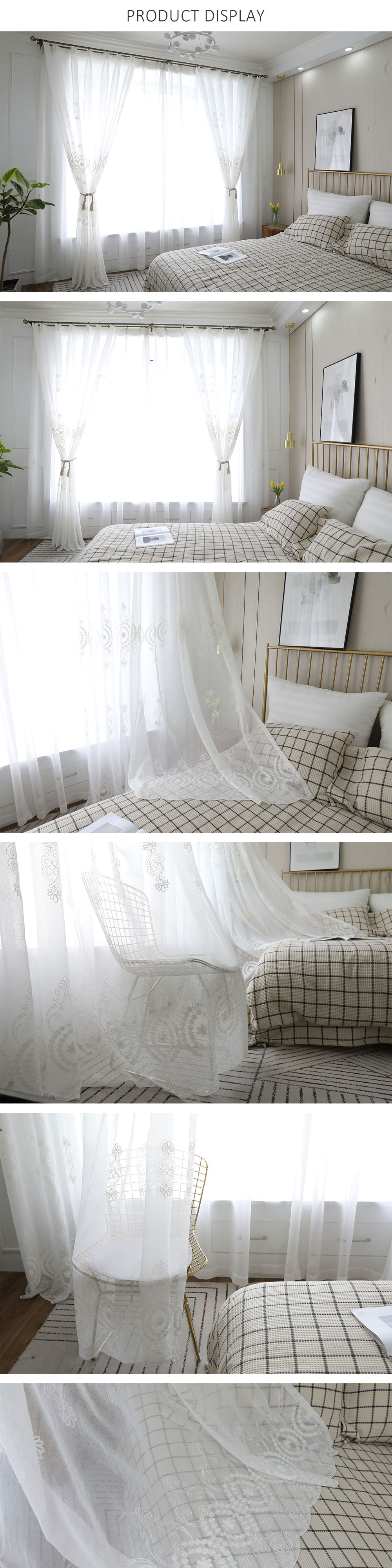 LOZUJOJU 1 Piece Tulle Sheer Curtains Embroidery White Drop All Match for Living room Window Thread Fabric Floral Jacquard Decor (1)