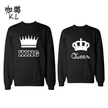 2017 Winter Autumn Women Sweatshirt King Queen Printed Thicken Warm Couple Loving Female Hoodies Tops Shirts Large Size 3XL(China)