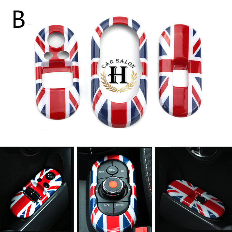 3pcs/set Car Window Lifter Switch Cover Control Panel Cover Sticker Decoration for Mini F55 F56 Union Jack Checker<br><br>Aliexpress