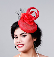 elegant Ladies Occasion,Cocktai,Event,Race fascinator,women linen red hats,wedding/party hair accessory, feather headwearMD16027
