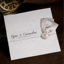 Classic Luxury Rhinestone Lace Wedding Invitations Free Customized Printing with RSVP and photo 100pcs/lot  Free Shipping