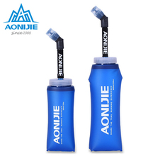 Brand AONIJIE Running a Sport Bicycle Soft Water For Bottle Folding TPU Soft Flask Water With Long Straw Bladders Bag 350/600mL