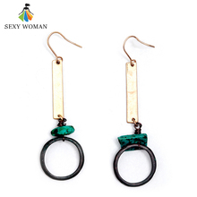 SEXY WOMAN Lady Retro Natural Stone Long Pendant Earrings Antique Gold Charm Bohemian Earrings for Women High Quality Jewelry(China)