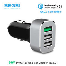 SEGSI Quick Charge QC3.0 35W 3 Port USB Fast Car Charger For iPhone 7 / 6s / Plus, iPad Pro / Air 2 / mini, Galaxy S7 / S6 / Edg