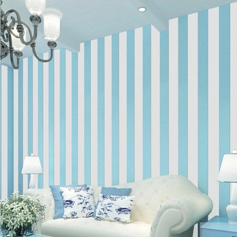 beibehang papel de parede 3D Wall paper Blue White Striped Wallpaper For Walls Vertical Striped Wallpaper Roll Bedroom flooring<br>