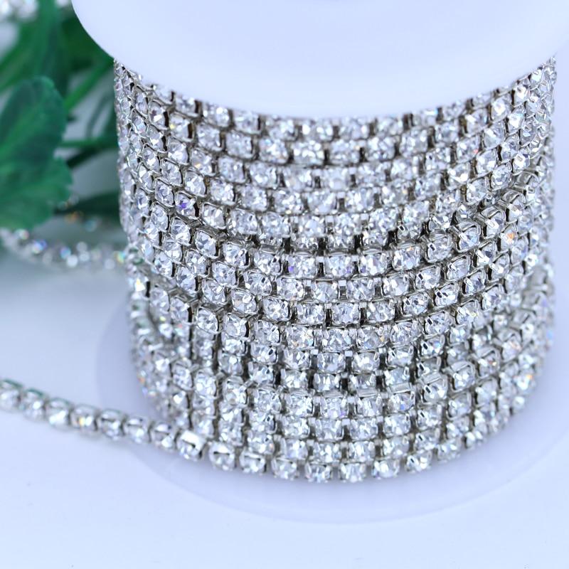 Hot!5 Yards Roll Silver Base Crystal SS6-SS16 High Dense Claw Rhinestone cf9be07229a3