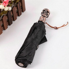 High Quality Fashion Design Unique Gold Skull Umbrella Uv Protection Three Folding Umbrella black Red Purple Sunny Umbrella