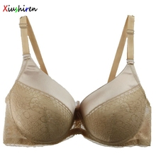 XIUSHIREN Women Plus Size Bra 40D 42C 42D 44C 44D 46C Full Cup mother Lace Push Up Beige Bras Female Underwear underwear DE0007