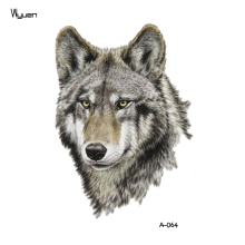 WYUEN Wolf Temporary Tattoo Sticker Animal Tattoos for Women Fashion Sexy Body Art Waterproof Hand Fake Tatoo 9.8X6cm A-064
