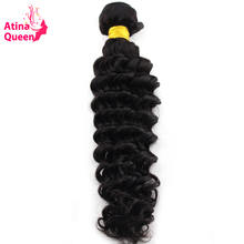 Atina Queen Deep Wave Human Hair Weave Bundles 10-30inch Natural Color Free Shipping Peruvian 1 piece non Remy Hair Extensions