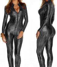Buy Fantasias Eroticas Femininas Fetish Bondage Snakeskin Stripper Pole Dance Clothes Faux Latex Dress Leather Jumpsuit 3 Colors