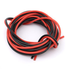 2 X 3Meter 14/16/18/20/22/24/26 gauge AWG Silicone Rubber Stranded Wire, Electric Cable, Led Electric Wire Cable Red&Black