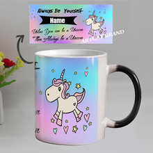 DIY Photo Unicorn Color Changing Coffee Mug custom your Name on Magic ceramic Tea cup best gift for friends(China)