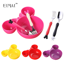 Buy EIMAI Kids Bowl Dinnerware set Cartoon Creative Spoons fork set Plate child Plastic Tableware Lovely Lunch Tray Dishs AA02 for $2.31 in AliExpress store