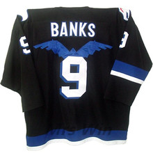 HAWKS ADAM BANKS #9 MIGHTY DUCKS MOVIE Black Hockey Jersey Embroidery Stitched Customize any number and name