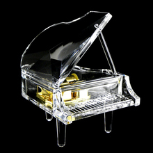 Crystal Texture Gold-plated Spring Grand Piano Music Box Second Gram Force The Music Box Heaven Of Originality