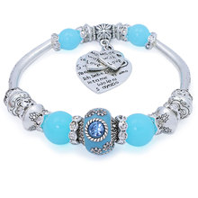 Fashion Silver Plated Love Heart Charm Bracelets & Bangles European Glass Beads Strand Bracelets for Women Fine Jewelry(China)