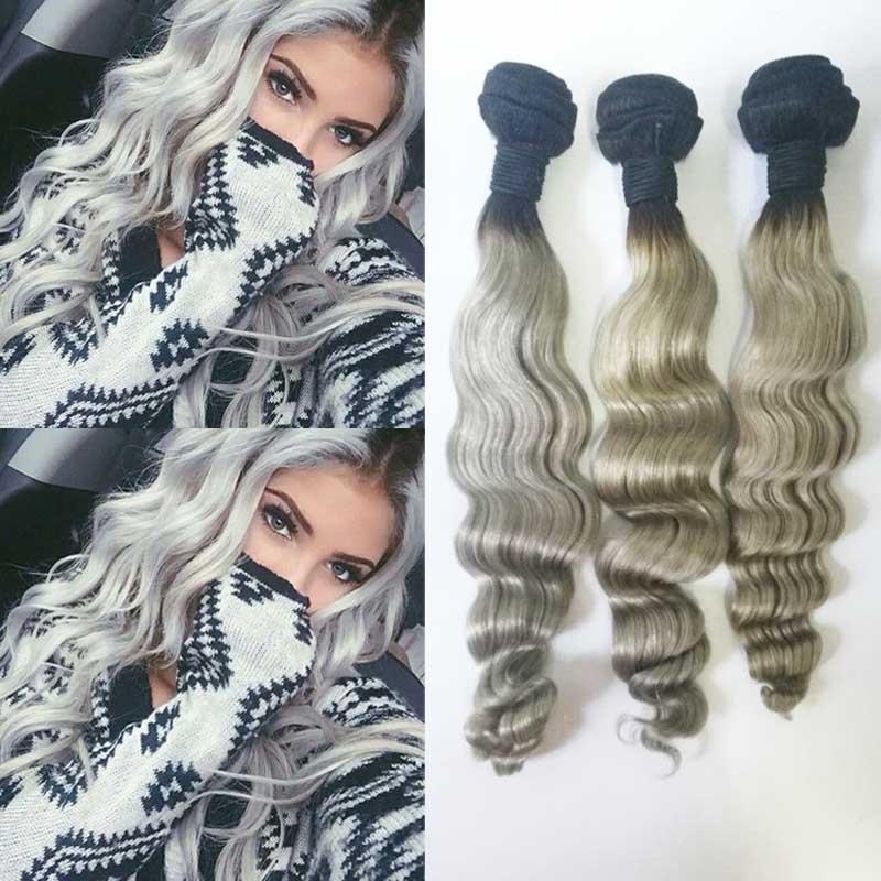 7A Ombre Brazilian Hair Extensions Brazilian Virgin Hair Loose Wave 3Pcs Ombre Grey Human Hair Weae Silver 1B/Gray Two Tone<br><br>Aliexpress