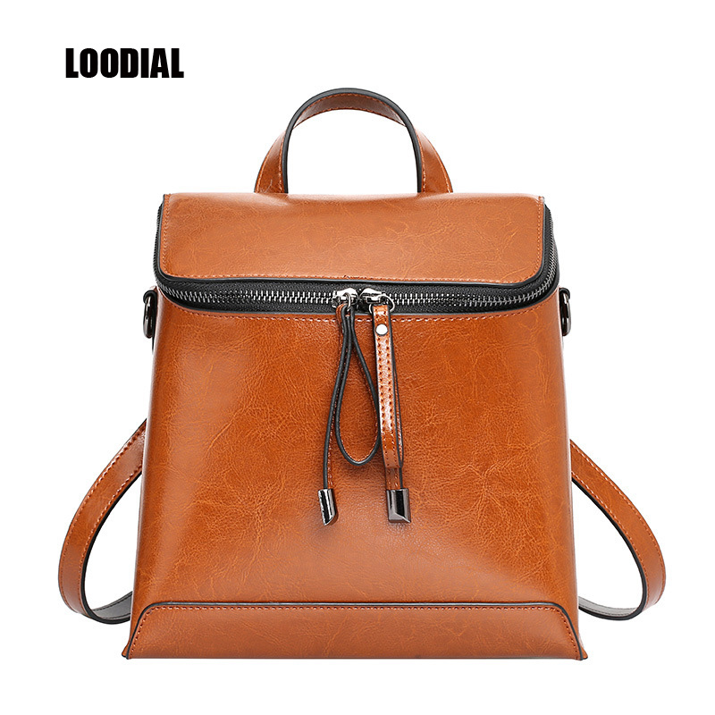 Loodial women backpacks genuine leather bag leather hand bag fashion leisure ladies backpack womens bag female(China)
