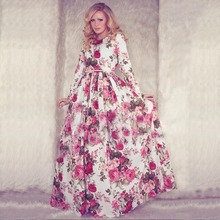 New  Women Summer Maxi Dress Long Sleeve O-neck Red Vintage Flower Print Party Long Dress vestidos longos