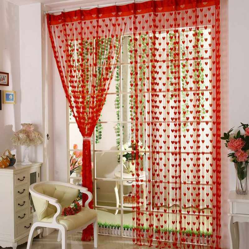 Bedroom heart string curtains for door windows tulle voile curtains blinds for children tassel lace curtain romantic decoration