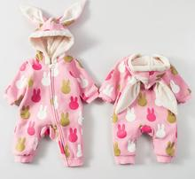 Female baby clothes winter thickening 0-2 years old newborn baby autumn and winter sleepwear warm winter coat fashion styles(China)