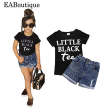 EABoutique 2017 summer kids clothes Street Fashion Rock baby girl clothes Jeans Shorts with letter tee 2 piece set