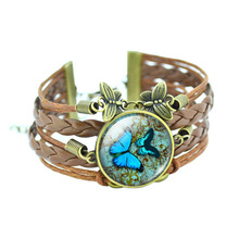 vintage butterfly leather bracelet glass alloy animal design jewelry for women party thousands design stock gift drop shipping