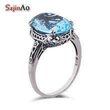 Szjinao High-end fashion luxury heart ring pattern style ancient blue crystal 925 sterling silver ring bijouterie china(China)