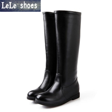 LELE 2017 New  Fashion Women Knee High Boots Big Size Thigh High Platform Boots High Quality Soft Leather Zipper Bottes Femmes