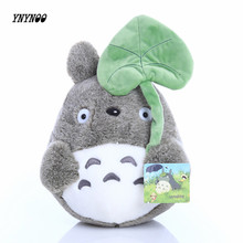 YNYNOO 25cm lovely plush toy, my neighbor totoro plush toy cute soft doll totoro with lotus leaf kids toys Cat K394(China)