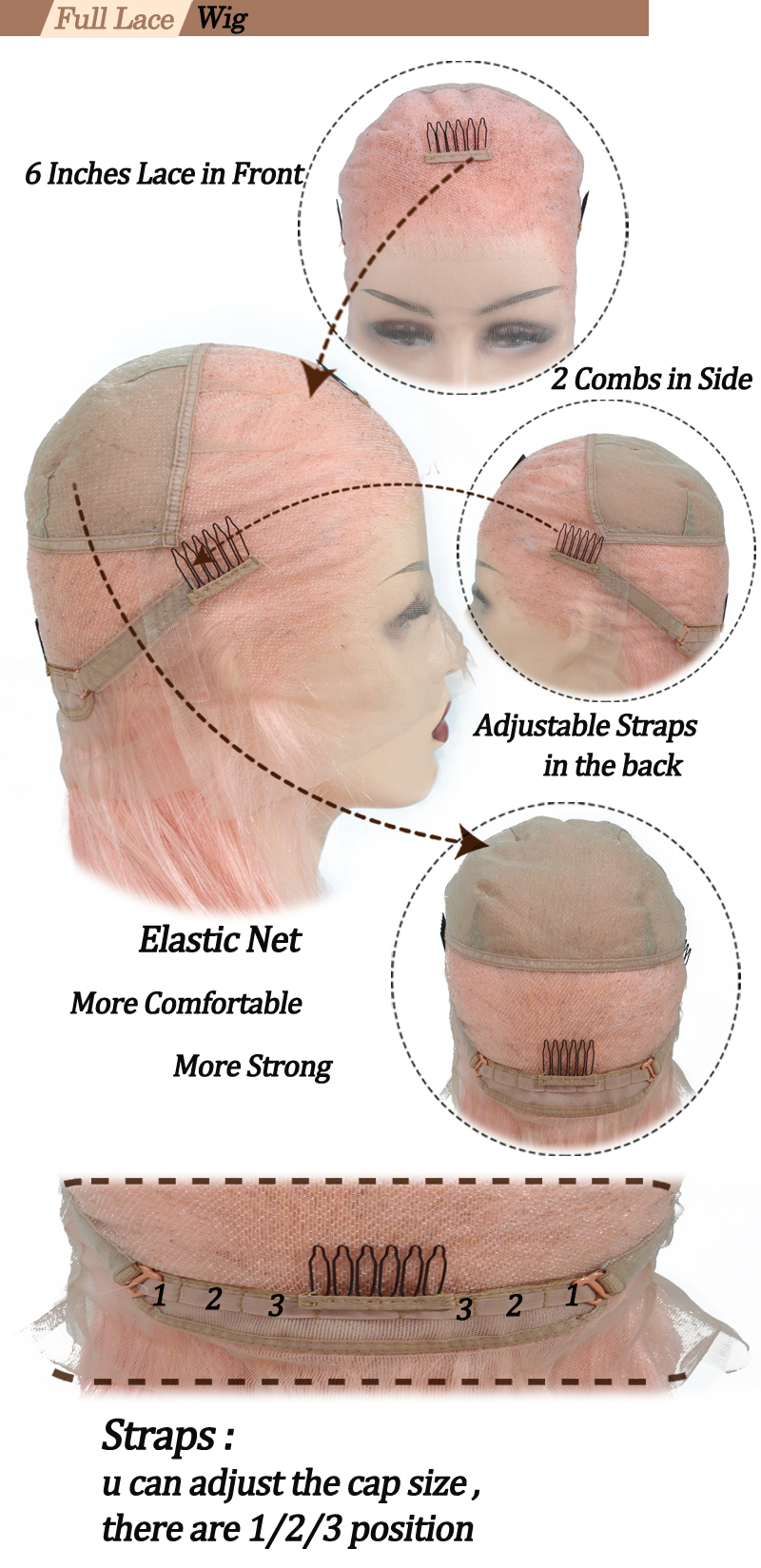 pink full lace wig cap