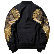 2017 New Spring Black Embroidery Bomber Jacket Men Streetwear Brand-clothing(China)