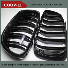 1 Pair 5 Series F10 Glossy Black Dual Slat M5 Style Front Kidney Grille Grill For BMW F10 520i 523i 525i 530i 535i 2010+