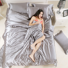 Enipate 2017 Comfortable Pure Satin Silk Bedding Home Textile Full/queen/King Size Bedclothes Quilt