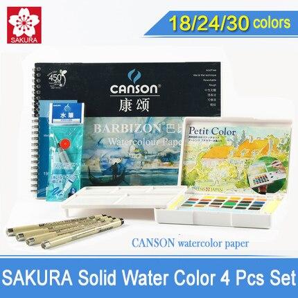 SAKURA Solid Water Color Paint Set,18/24/30 Colors Solid Water Color Pigment+Sakura Needle Pen+Water Brush+Watercolor Paper <br>