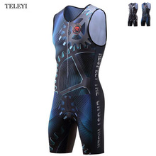 TELEYI Team Mens Outdoor Breathable Ciclismo Summer One Piece Compressed Cycling Bike Bicycle Jersey Professional Sportswear
