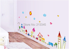 [Fundecor] fantasy kids Cartoon house small town children's room nursery wall decals removable bedroom decor stickers