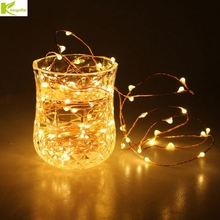 Kingoffer Led Christmas Light 2M 20 LEDs Battery Operated Mini LED Copper Wire String Fairy Light For Wedding Xmas Garland Party(China)