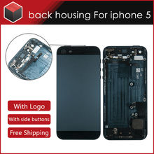 5PCS/lots housing Battery Back cover assembly For iphone 5 full with 2 color Black Silver Replacement free shipping