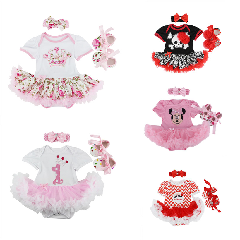 Lovely Newborn Baby Girl clothes Jumpsuit suit Infant Clothing 3pcs/Sets Tutu Romper Dress Christmas Bebes Birthday clothes<br><br>Aliexpress