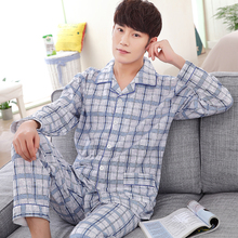 Spring and autumn men's casual tracksuit long-sleeved cotton cardigan pajamas men thick pijamas hombre plus size sleepwear XXXL(China)