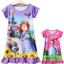 2018 Summer Dress Girl Pajamas Children Nightgowns Girls Fashion Sleepwear Kids Bathrobe Sofia Princess Nightgown 7Yrs