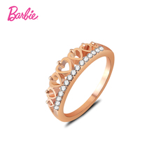 Barbie Elegant Lovely Heart Crown Ring Silver Color Fashion Rings For Women Hollow Honey Peach Heart rhinestone Ring(China)