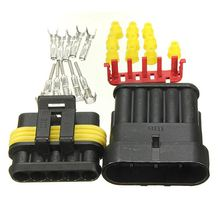 1 Set Black 5 Pins 5 Way Sealed Waterproof Electrical Wire Auto Connector Plug Fit For Car Motorcycle Truck(China)