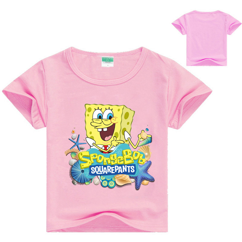 Cartoon Sponge Bob T Shirt Boys Girls 2018 Summer Children's Clothing Cotton Toddler Girl Tops Tee Boy Kids T-shirt 3-14Y