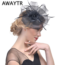 AWAYTR Fascinator Hairpin Hat Clips Party Headwear for Women Feather Hair Clips Floral Tiaras Wedding Bridal Hair Accessories(China)