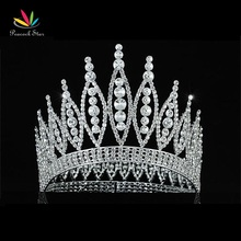 "Peacock Star Sparkling Beauty Contest High Quality Pageant Tall 4.6"" Tiara Full Circle Round Crystal Crown CT1723"