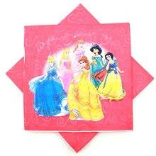 Hot S Disney Six Princess Theme Napkins Print Belle Kids Birthday Party Decration Supplies 20pcs Lot